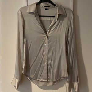 Theory silk silver blouse size P